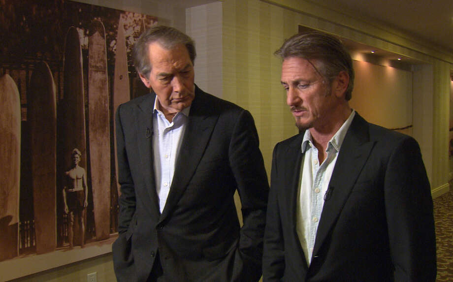 """This Jan. 14, 2016 image released by CBS News/60 Minutes shows Charlie Rose, left, with actor Sean Penn during an interview in Santa Monica, Calif., about Penn's meeting with Mexican drug lord Joaquin """"El Chapo"""" Guzman. The interview will air Sunday on """"60 Minutes."""" (CBS News/60 Minutes via AP) ARCHIVE OUT, NO SALES, NORTH AMERICA USE ONLY. Photo: Associated Press / CBS News/60 Minutes"""