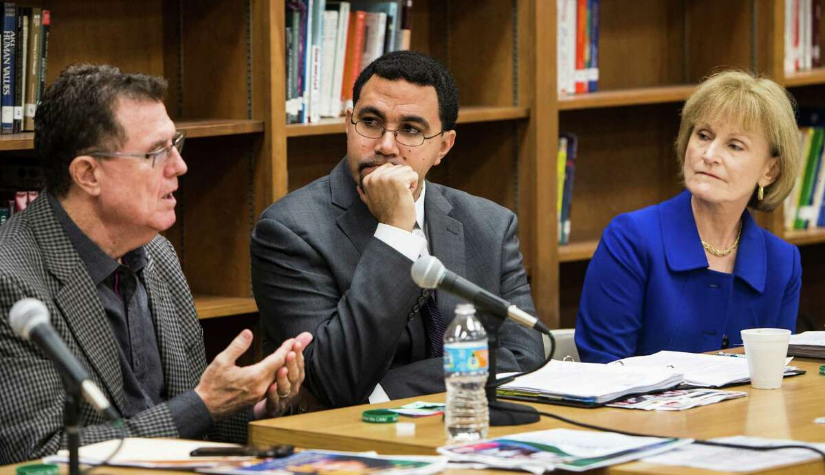 HISD Superintendent Terry Grier, at one of his last public events on the job, speaks Jan. 15 during a roundtable discussion featuring acting Education SecretaryJohn King, center, and Mary Wakefield, acting deputy secretary of Health and Human Services.