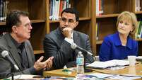HISD Superintendent, Dr. Terry Grier, left, speaks during a roundtable discussion featuring Dr. John King, acting Secretary of Education, center, and Mary Wakefield, acting deputy Secretary of Health and Human Services, at Sharpstown High School on Friday, Jan. 15, 2016, in Houston. King and Wakefield toured the school and then held a roundtable discussion with local leaders, focusing on practical tools and resources available to support communities with linking health and education services for students and their families.