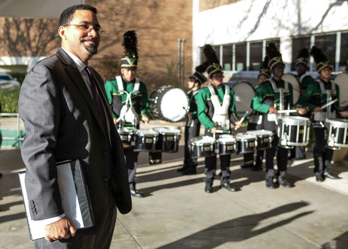 Acting Secretary of Education Dr. John King is greeted by the Sharpstown High School Band as he arrives to the school on Friday, Jan. 15, 2016, in Houston. King and Mary Wakefield, acting deputy secretary of Health and Human Services, toured the school and then held a roundtable discussion with local leaders, focusing on practical tools and resources available to support communities with linking health and education services for students and their families.