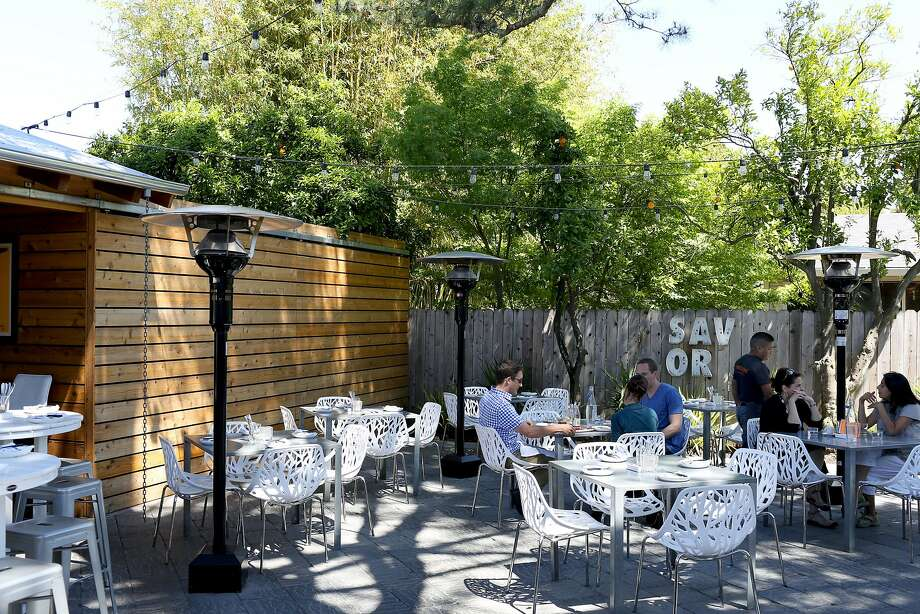 The back patio dining area at Mark and Terri Stark's Bravas Bar de Tapas, which offers spanish style fare and tapas in Healdsburg. Photo: Jason Henry, Special To The Chronicle