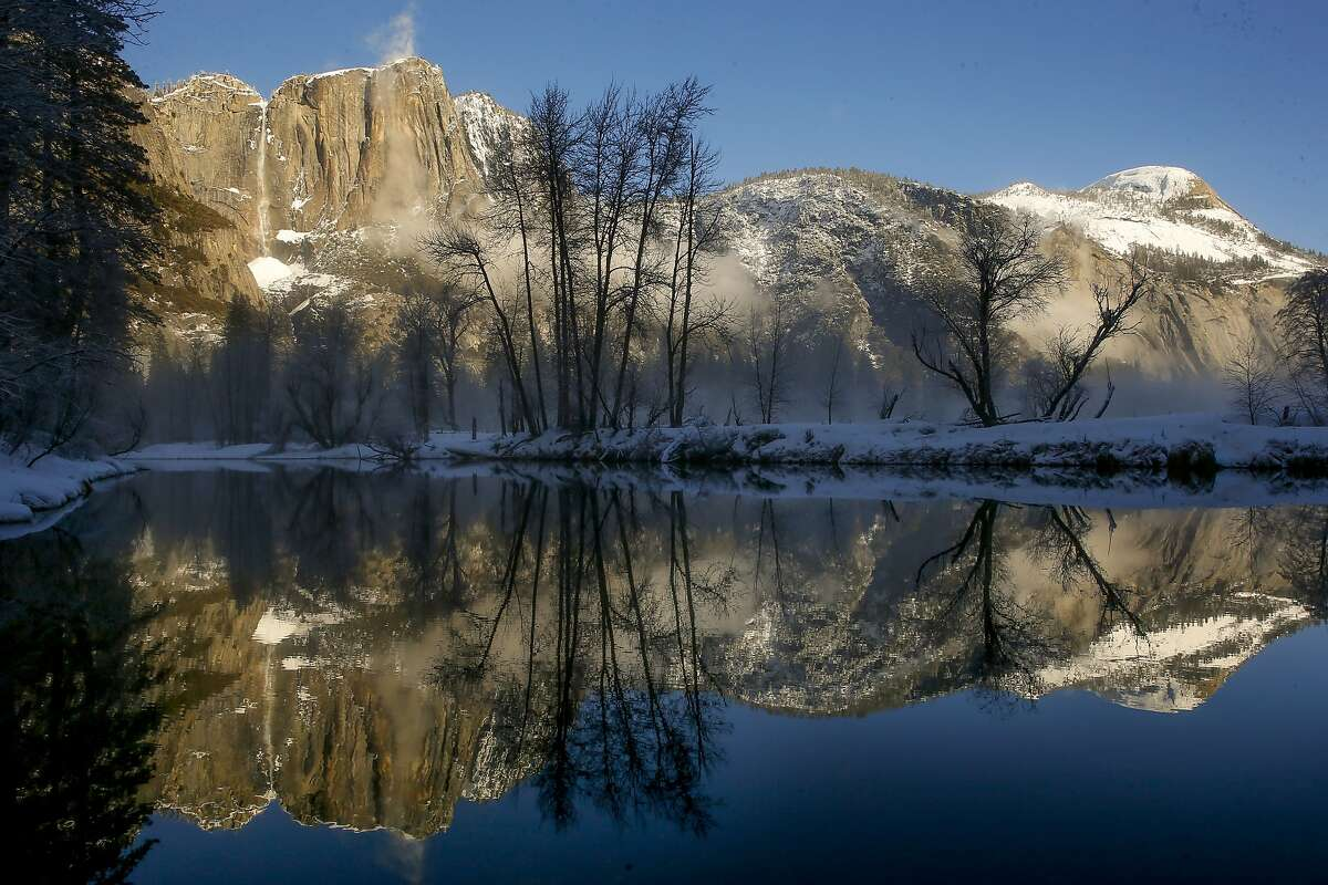 View of Yosemite Falls from Swinging Bridge in Yosemite National Park, Calif. on Fri. January 15, 2016. Yosemite National Park has has agreed to change the names of The Ahwahnee to the Majestic Yosemite Hotel and Curry Village the Half Dome Village after a lawsuit filed by a contractor claimed it owned the names of the many legendary buildings and campgrounds.