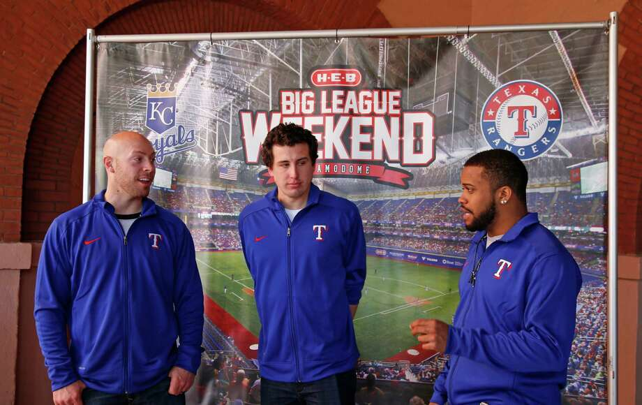 Delino DeShields, right, catcher Chris Gimene, center, pitcher Derek Holland, middle, prepare to meet press during 2016 Texas Rangers Winter Caravan stop in San Antonio on Jan. 15, 2016 at Sunset Station. Photo: Ronald Cortes /For The Express-News / For the Express and News