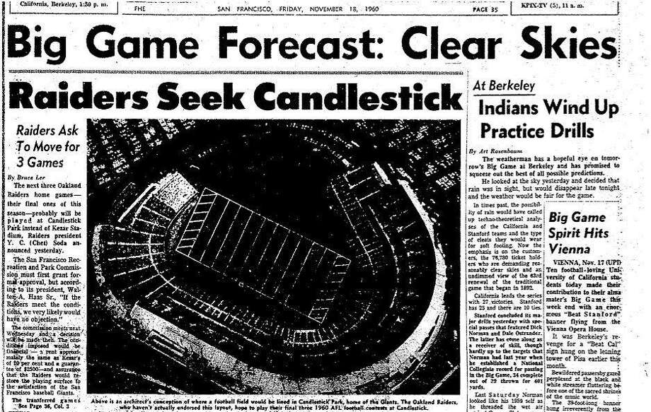 The Raiders played their first four games at Kezar Stadium, and then came to an agreement with the San Francisco Park and Recreation Department to to play their last three games of the 1960 season at Candlestick Park.