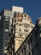 The Humboldt Bank Building from 1906, by Meyer and O'Brien, is a domed 18-story tower at 785 Market St. that's picturesque enough to have survived all the changes around it.