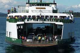 """""""June 29, 2014 - Here's a photo of the Evergreen State as she makes her final sailing as the interisland ferry. She began her San Juan Island ferry career in 1959. In July 2014, WSF transitioned the vessel to serve on a limited basis as a standby ferry."""" -Washington State Ferries. Photo courtesy WSDOT."""