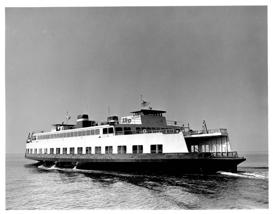 """""""Washington State Ferries' first custom-built vessel, the M/V Evergreen State, joins the Seattle/Bainbridge route. Photo: October 1954"""" -Washington State Ferries. Photo courtesy WSDOT. Photo: Courtesy WSDOT"""