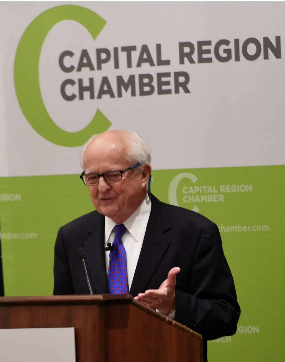 Hugh Johnson presents his 27th annual economic outlook for the coming year as he addresses the Capital Region Chamber of Commerce Friday morning at the Desmond Hotel Jan. 15, 2015 in Colonie, N.Y. (Skip Dickstein/Times Union)