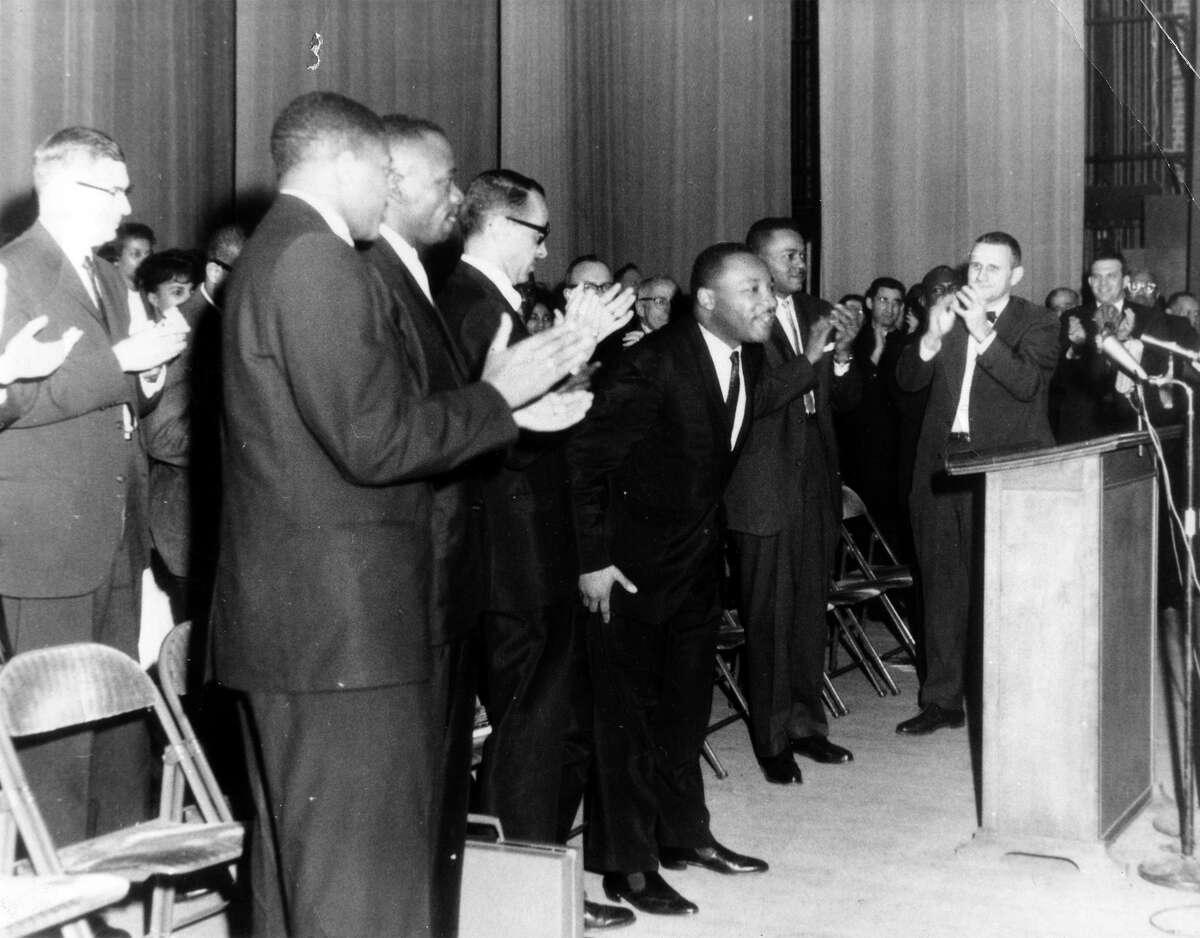 Martin Luther King spoke at Klein Auditorium in Bridgeport in March 1964.