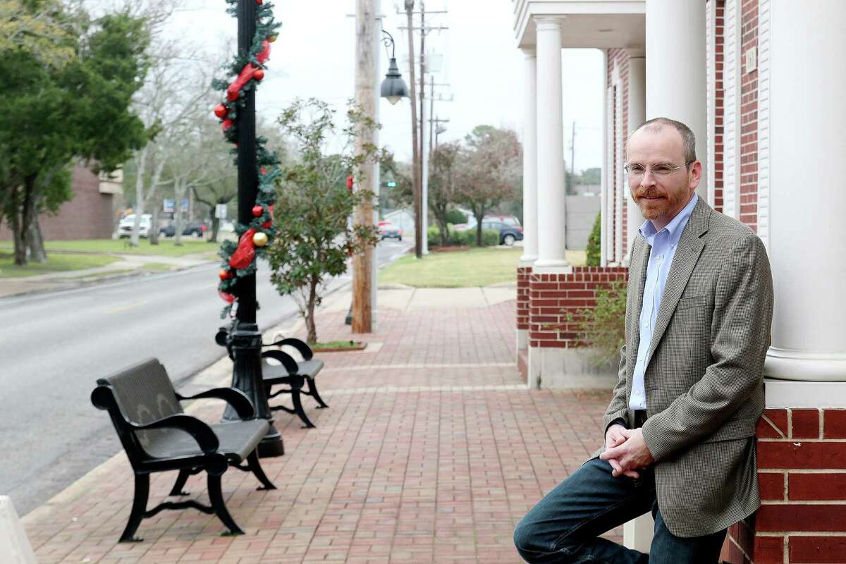 Brett Banfield, president of the Friends of Downtown Friendswood Association, outside his office. Photo by Pin Lim.