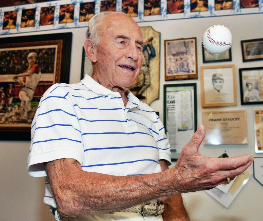 Frank Staucet, 90, recalls his playing days with the Albany Senators baseball team back in the 1940s on Friday June 28, 2013, at his Slingerlands home in N.Y.  (John Carl D'Annibale / Times Union archive) Photo: John Carl D'Annibale / 00022994A
