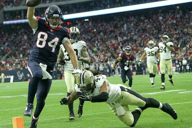 Ryan Griffin provided a rare sight for the Texans in Week 12 against the Saints - a touchdown scored by a tight end. Three Texans tight ends combined for 41 catches, 448 yards and four touchdowns on the season.