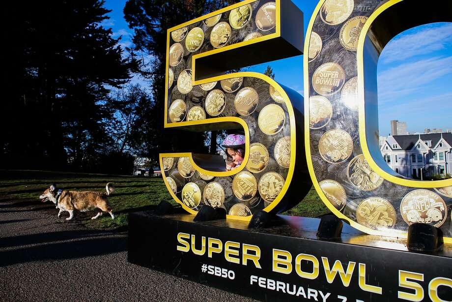 """Olivia Cunningham, 4, and her dog Gaigho (left) spend time exploring a sculpture of the number """"50"""" in Alamo Square Park, in San Francisco, California on Friday, January 15, 2016. Photo: Gabrielle Lurie, Special To The Chronicle"""