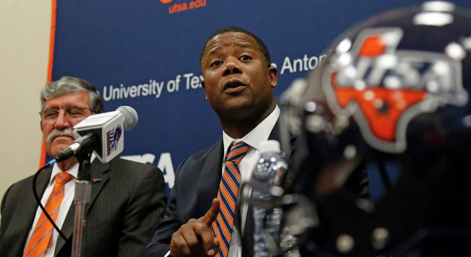 New UTSA head football coach Frank Wilson answer questions. New UTSA football coach Frank Wilson, formerly the running backs coach and recruiting coordinator for LSU. UTSA present Ricardo Romo and athletic director Lynn Hickey will be in attendance on Friday, January 15, 2016 at H.E.B. University Center. Photo: Ronald Cortes, Freelance / For The Express And / For the Express and News