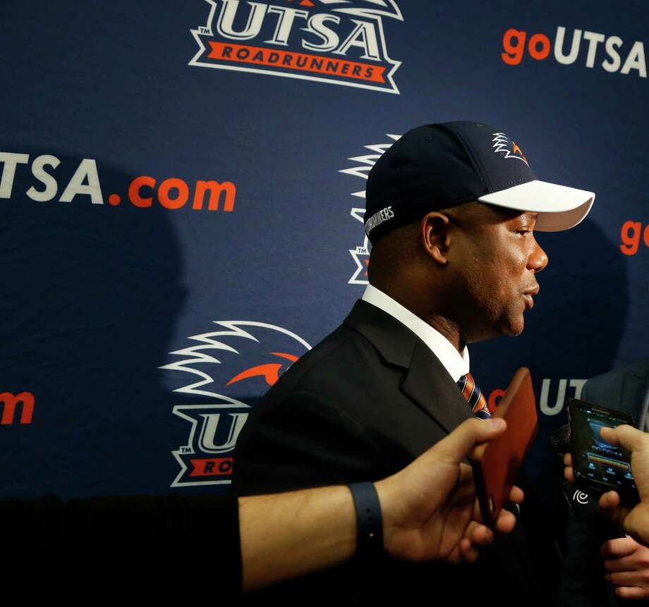 New head coach Frank Wilson goes thru interviews after introduction. New UTSA football coach Frank Wilson, formerly the running backs coach and recruiting coordinator for LSU. UTSA present Ricardo Romo and athletic director Lynn Hickey will be in attendance on Friday, January 15, 2016 at H.E.B. University Center. Photo: Ronald Cortes, Freelance / For The Express And / For the Express and News