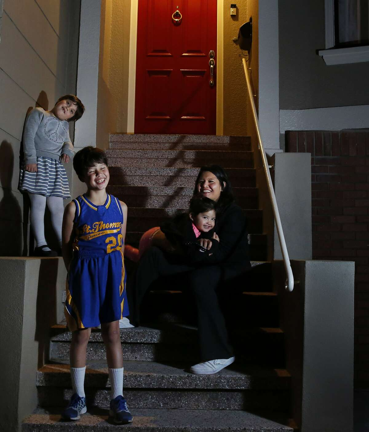 Marjan Philhour pictured with her three children Sophie, 6, Joey, 8, and Natalie, 2, Jan. 15, 2015 in San Francisco, Calif. Philhour is running for District 1 Supervisor in San Francisco. She often canvasses her neighborhood with the help of one or all of her three children.