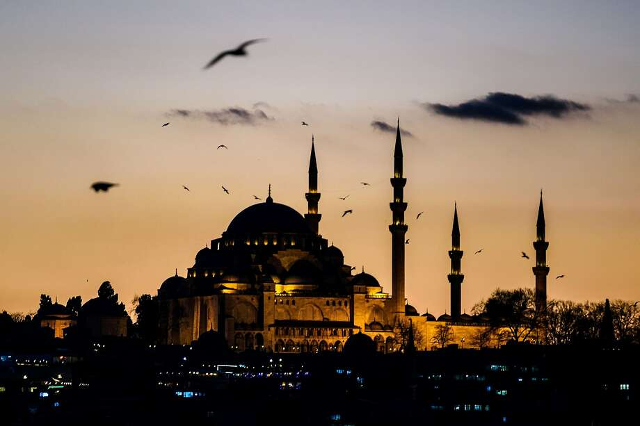 A picture taken on January 14, 2016 shows seagulls flying over Suleymaniye mosque in Istanbul.