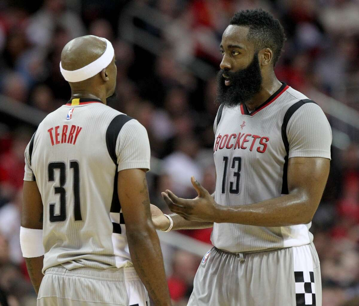 Houston Rockets guard James Harden (13) and Houston Rockets guard Jason Terry (31) during the third quarter at the Toyota Center Friday, Jan. 15, 2016, in Houston. Rockets lost 77-91. ( Gary Coronado / Houston Chronicle )