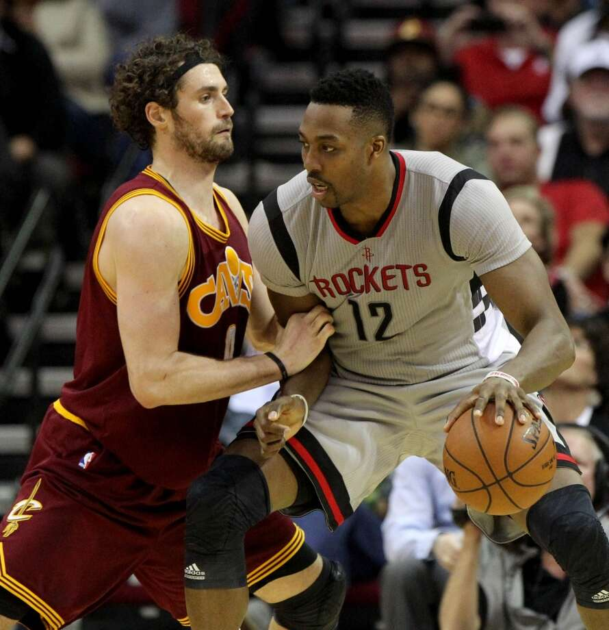 Kevin Love (left) figures to play a bigger role for the Cavaliers against the Rockets with LeBron James out for Tuesday's game in Cleveland. Photo: Houston Chronicle