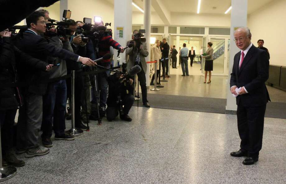 Director General of the International Atomic Energy Agency, IAEA, Yukiya Amano of Japan addresses the media at the International Atomic Energy Agency, IAEA, in Vienna, Austria, Saturday, Jan. 16, 2016. (AP Photo/Ronald Zak) ORG XMIT: XRZ104 Photo: Ronald Zak / AP