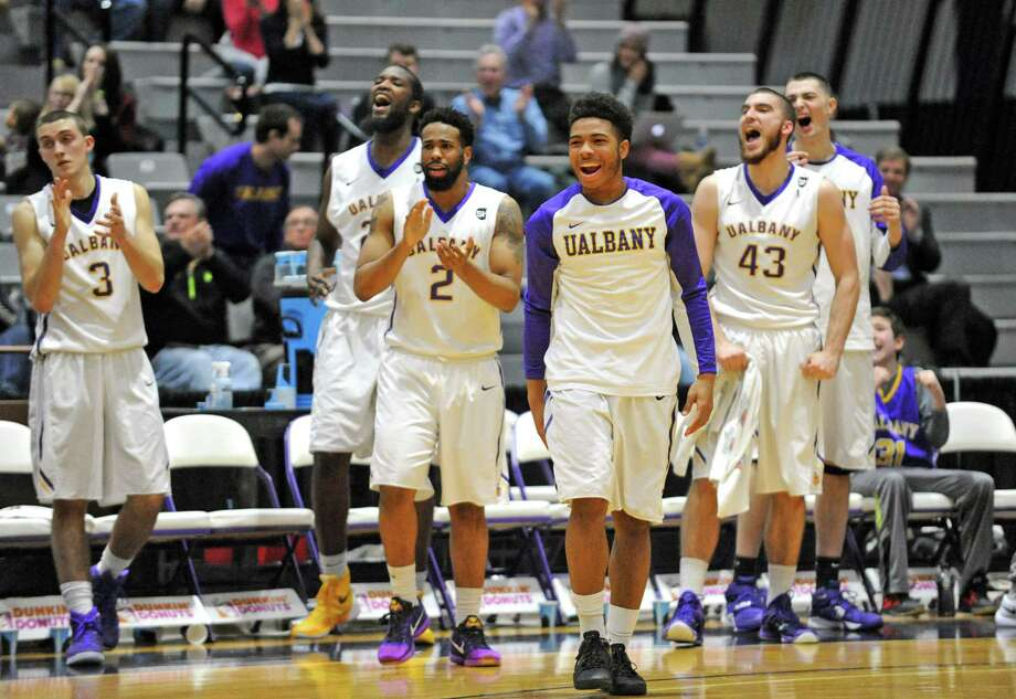 The UAlbany bench comes out to greet the starters during their college men's basketball game win against UNH at SEFCU Arena on Tuesday Jan. 12, 2016 in Albany, N.Y. (Michael P. Farrell/Times Union) Photo: Michael P. Farrell / 10034974A