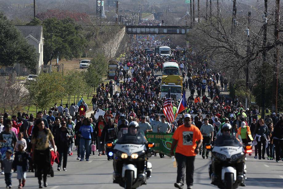 As many as 175,000 people took part in last year's Martin Luther King Jr. March in San Antonio on Jan. 19, 2015. Photo: Lisa Krantz /San Antonio Express-News / ©2014 San Antonio Express-News