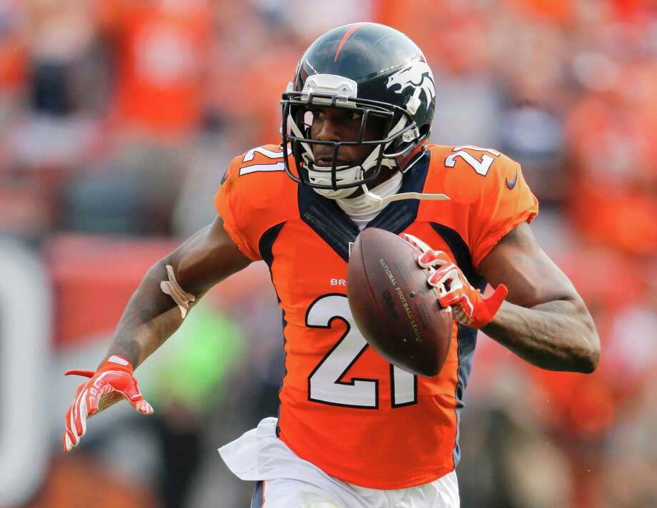 FILE - In this Sept. 13, 2015, file photo, Denver Broncos cornerback Aqib Talib scores against the Baltimore Ravens during the second half of an NFL football game in Denver.  Denver's defense, which finished No. 1 overall for the first time in franchise history and led the league in sacks, total yards and passing yards, is what will likely determine the Broncos' playoff fortunes. (AP Photo/Jack Dempsey, File) ORG XMIT: NY379 Photo: Jack Dempsey / FR42408 AP