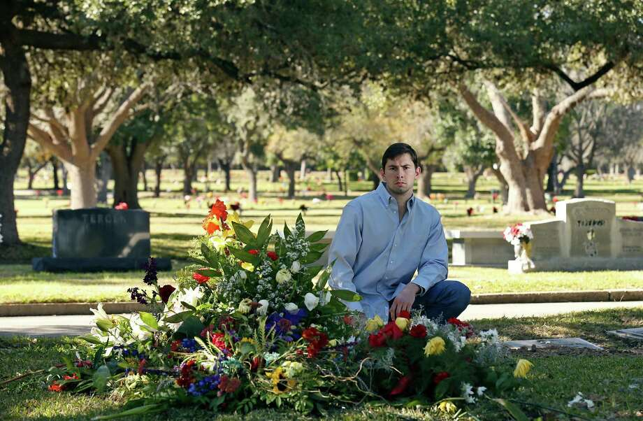 Cliff Molak visits the Sunset Memorial Park grave of his brother David, an Alamo Heights High School student who committed suicide Jan. 4 after being cyberbullied. A Facebook that Cliff wrote about his brother's death went viral. Photo: Edward A. Ornelas / San Antonio Express-News / © 2016 San Antonio Express-News