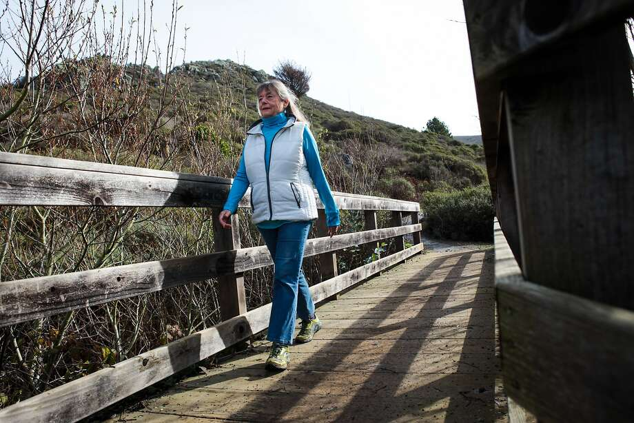 Kristin Shannon, the chairman of the Mountain Tamalpais task force, hikes across a footbridge at the end of Diaz Ridge trail, in Marin County, California, on Friday, January 15, 2016. Photo: Gabrielle Lurie, Special To The Chronicle