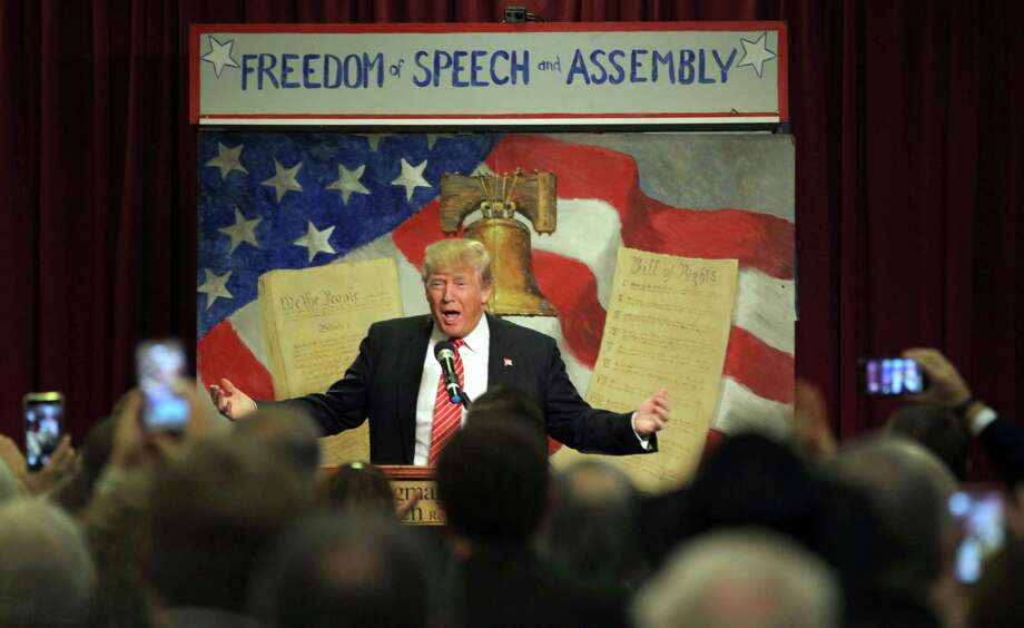 Republican presidential hopeful Donald Trump speaks at the South Carolina Tea Party Convention, Saturday, Jan. 16, 2016, at the Springmaid Beach Resort in Myrtle Beach, S.C.(AP Photo/Willis Glassgow) Photo: Willis Glassgow, FRE / fr34287 AP