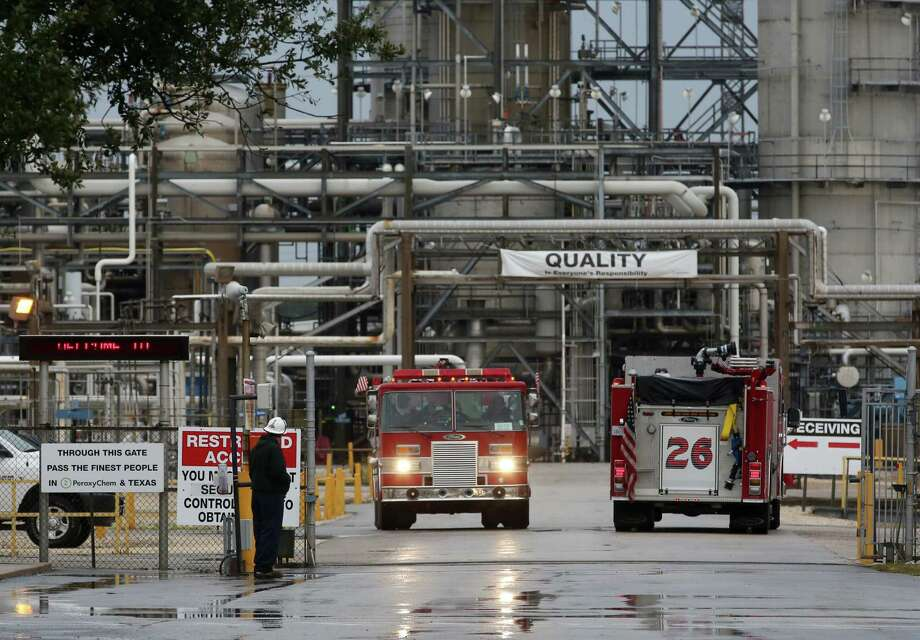 A tank holding an oil-based cleaning solution exploded Saturday afternoon at a PeroxyChem plant on Bay Area Boulevard in Pasadena. One person was killed and three others were injured. Photo: Jon Shapley, Staff / © 2015  Houston Chronicle