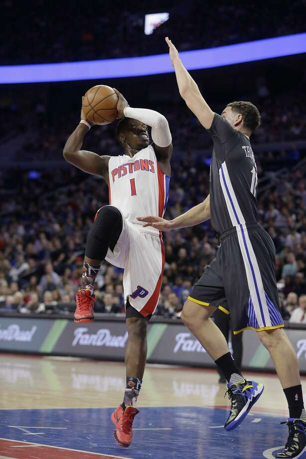 Detroit Pistons guard Reggie Jackson (1) shoots over Golden State Warriors guard Klay Thompson (11) during the first half of an NBA basketball game, Saturday, Jan. 16, 2016, in Auburn Hills, Mich. (AP Photo/Carlos Osorio) Photo: Carlos Osorio, Associated Press