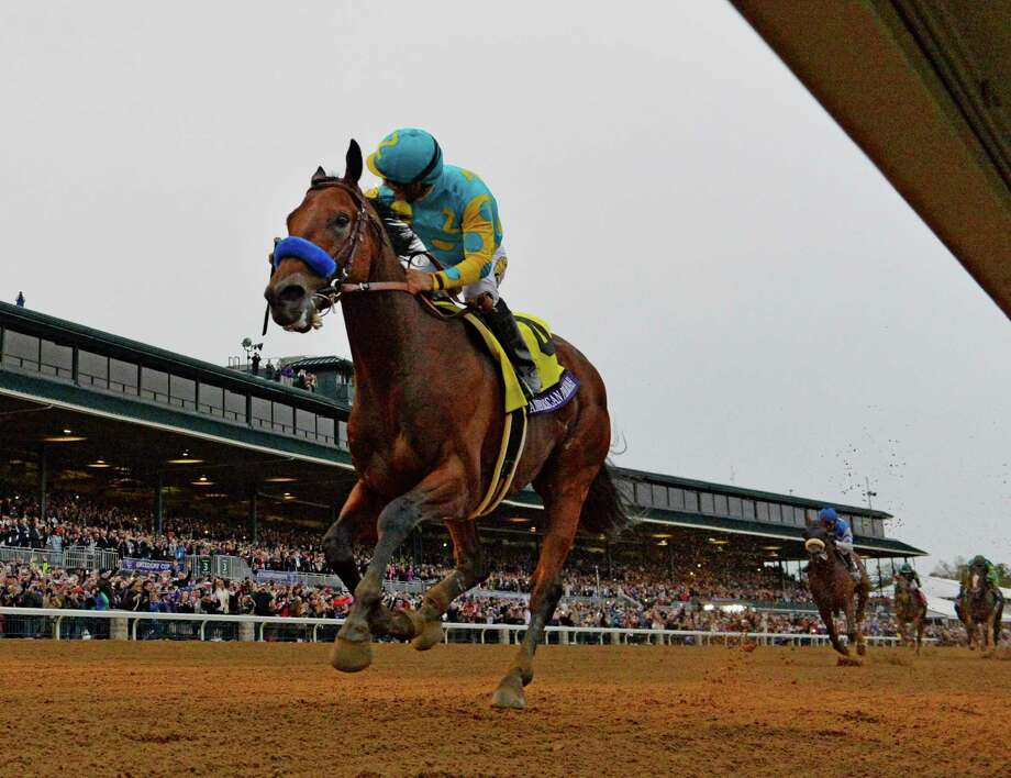 Jockey Victor aboard American Pharoah wins the Breeders' Cup Classic in track record time Oct. 31, 2015 at Keeneland Race Track in Lexington, KY  (Skip Dickstein/Times Union) Photo: SKIP DICKSTEIN