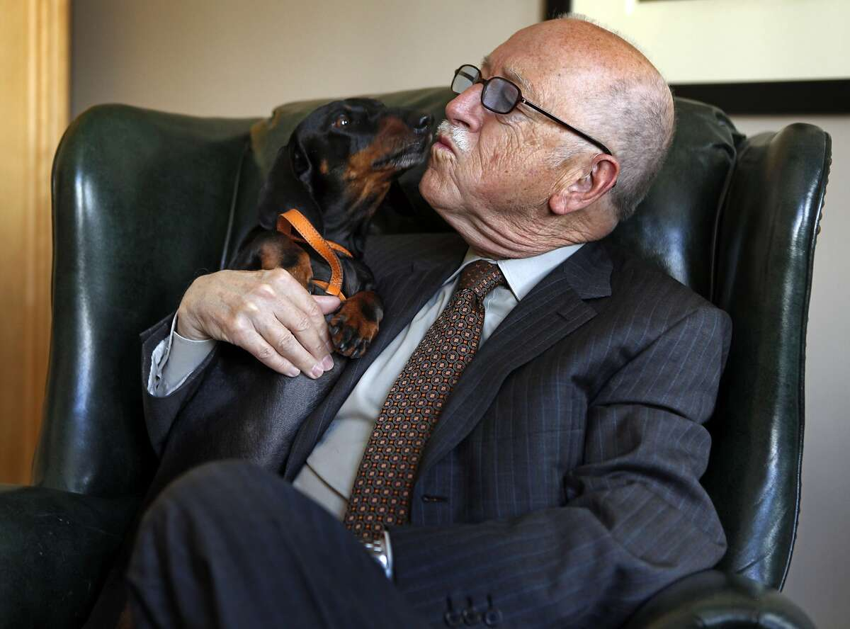 Wilkes Bashford and his dachshund Duchie conduct business together at his fine men's furnishing store in downtown San Francisco on Tuesday, April 26, 2011.
