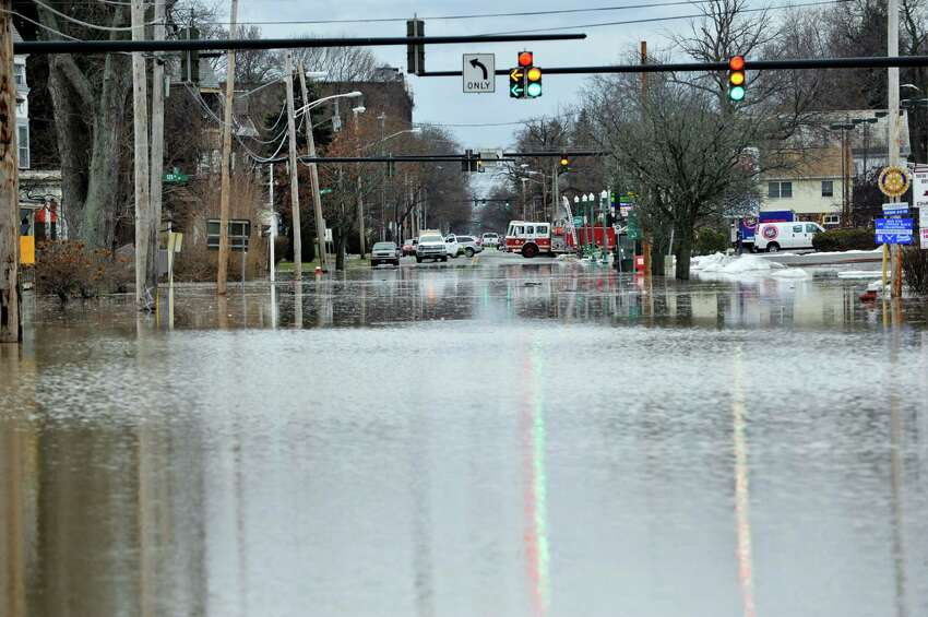 A view looking down 2nd Ave. which was flooded following a water main break in the area of 125th Street and 5th Ave. on Sunday morning, Jan. 17, 2016, in Troy, N.Y. (Paul Buckowski / Times Union)