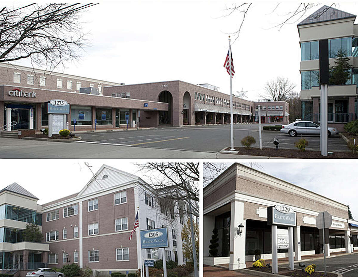 Kleban Properties, second-largest taxpayer in Fairfield, has announced plans to try to acquire the General Electric corporate headquarters on Easton Turnpike, which GE said it plans to leave and move to Boston. Pictured in this composite photo from Kleban Properties are views of the company's signature local holding, the Brick Walk commercial/retail complex.