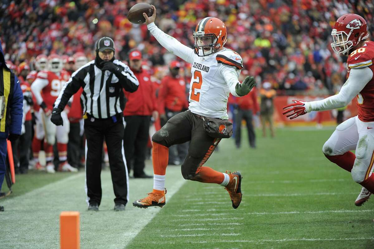 Cleveland Browns quarterback Johnny Manziel (2) goes out of bounds under pressure from Kansas City Chiefs linebacker Josh Mauga (90) during the second half of an NFL football game in Kansas City, Mo., Sunday, Dec. 27, 2015. (AP Photo/Ed Zurga)