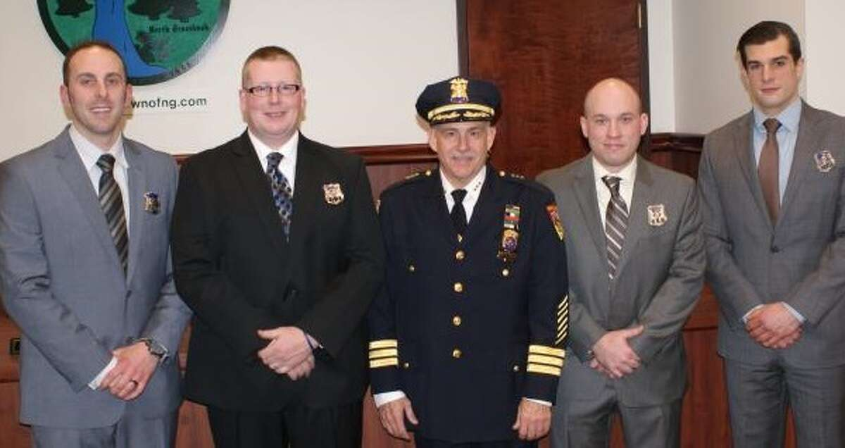 From left, North Greenbush Police Department members Benjamin Paniccia, Joshua Mears, Chief Robert Durivage, John Hudson Jr. and Shane Robichaud (Provided photo)