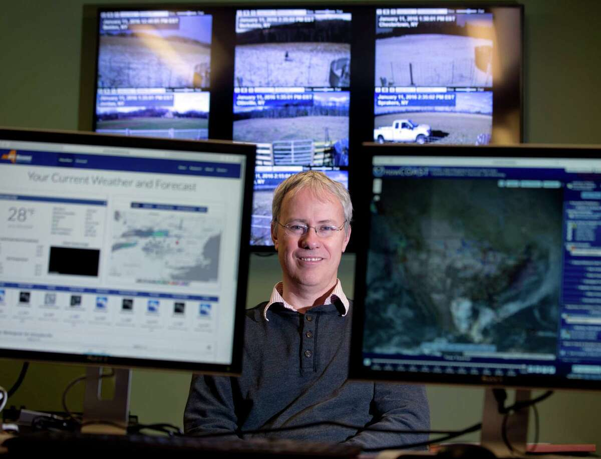 In this Monday, Jan. 11, 2016 photo, Professor Chris Thorncroft, chairman of the Atmospheric and Environmental Sciences Department at the University at Albany and co- principal investigator for the New York State Mesonet, poses in the Mesonet operations center at the university in Albany, N.Y. Described as the new ?