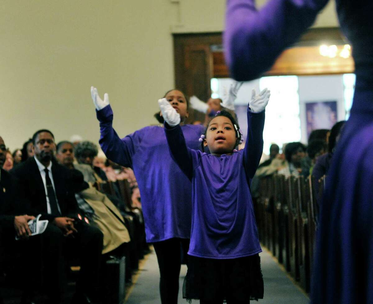 Tyaja Saxon, 6, and other members of the Mt. Olive youth Connections, perform at the Dr. Martin Luther King, Jr. celebration on Sunday, Jan. 17, 2016, at the Mt. Olivet Baptist Church in Schenectady, N.Y. The event was put on by the Martin Luther King, Jr. Coalition of the Schenectady County Human Rights Commission. (Paul Buckowski / Times Union)
