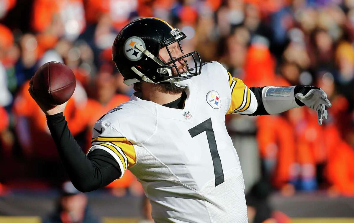 Pittsburgh Steelers quarterback Ben Roethlisberger passes against the Denver Broncos during the first half in an NFL football divisional playoff game, Sunday, Jan. 17, 2016, in Denver. (AP Photo/Jack Dempsey) ORG XMIT: COCC103