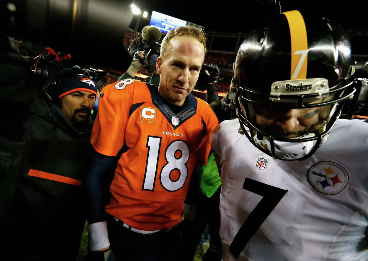 DENVER, CO - JANUARY 17: Peyton Manning #18 of the Denver Broncos and Ben Roethlisberger #7 of the Pittsburgh Steelers meet on the field after the AFC Divisional Playoff Game at Sports Authority Field at Mile High on January 17, 2016 in Denver, Colorado. The Denver Broncos beat the Pittsburgh Steelers 23-16. (Photo by Sean M. Haffey/Getty Images) ORG XMIT: 599402891