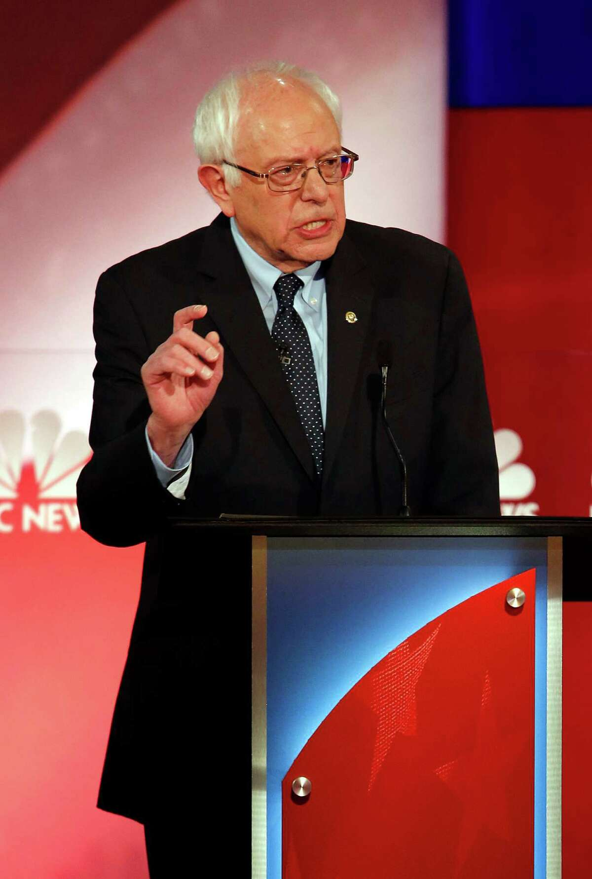 Democratic presidential candidate, Sen. Bernie Sanders, I-V.T., speaks at the NBC, YouTube Democratic presidential debate at the Gaillard Center, Sunday, Jan. 17, 2016, in Charleston, S.C. (AP Photo/Mic Smith) ORG XMIT: SCML118