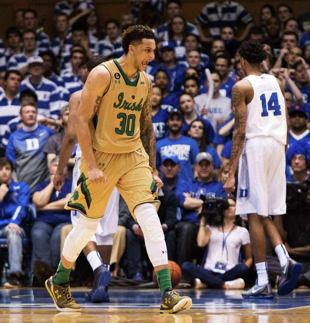 Four big upsets Notre Dame 95, No. 9 Duke 91 The Fighting Irish once again had the Blue Devils' number (four wins in their last five meetings), and this time Notre Dame big man Bonzie Colson came up huge with 31 points and 11 rebounds on Saturday in front of the Cameron Crazies.
