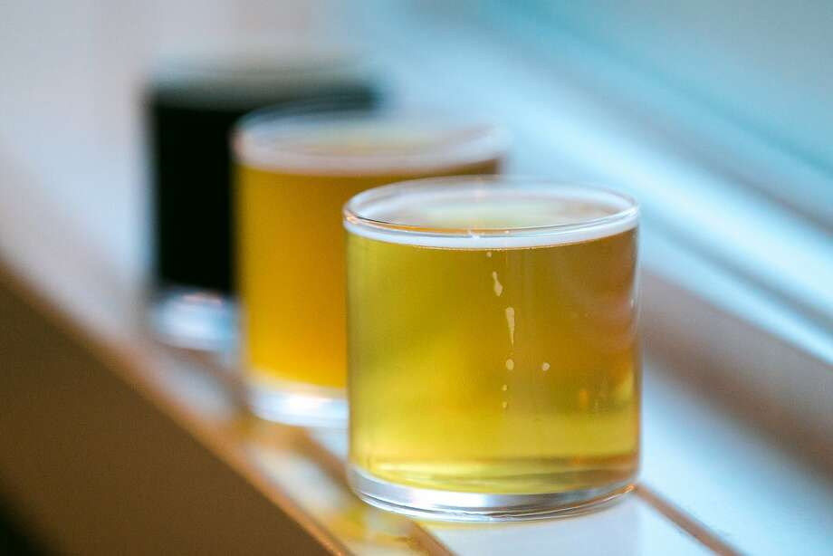 A flight of the three house beers served at Black Sands Brewery: Cosmic Wreckage, Smash Hallertau Blanc and Son of Man. Photo: Jen Fedrizzi, Special To The Chronicle