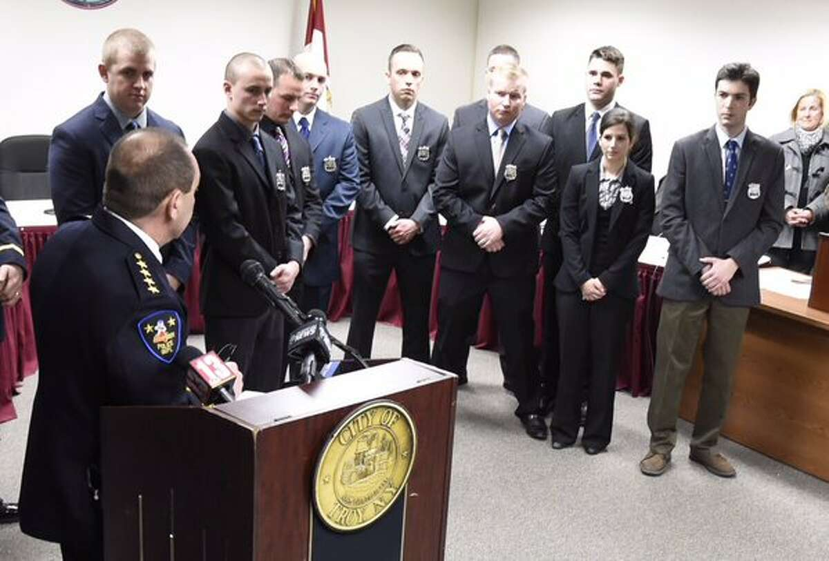 Troy Police Chief John Tedesco speaks to new recruits who were sworn in on Monday. (Skip Dickstein / Times Union)