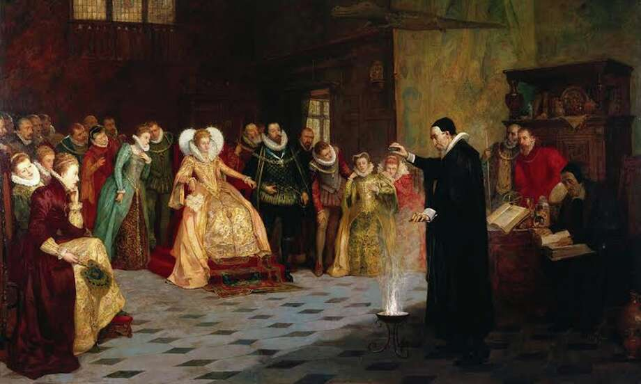 Henry Gillard Glindoni's painting of court polymath John Dee performing an experiment for Queen Elizabeth I has a secret. Photo: Wellcome Library