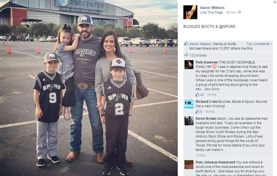 Texas country music singer, Aaron Watson, and his family love the Spurs.