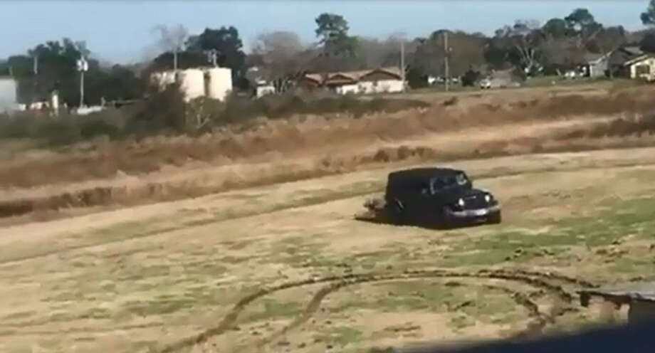 Police in Alvin, Texas are looking for the driver of this Jeep who tore up a public park playing in the mud. Photo: Alvin Police