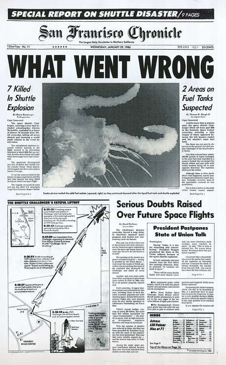 This Chronicle front page from Jan. 29, 1986, covers the Challenger explosion. Photo: Chronicle, Chronicle 1986